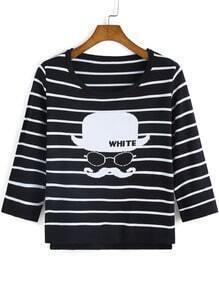 Black White Round Neck Beard Print T-Shirt
