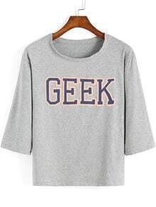 Grey Half Sleeve GEEK Print Crop T-Shirt