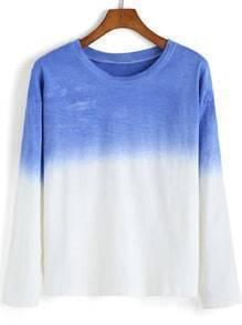 Blue White Round Neck Dye Loose T-Shirt