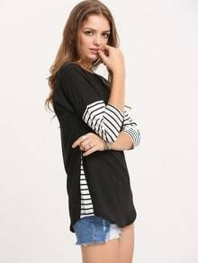 Black Round Neck Contrast Quilting Pane Colourblock Striped Loose T-Shirt