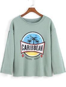 Light Green Round Neck CARIBBEAN Print Loose T-Shirt