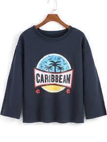 Blue Round Neck CARIBBEAN Print Loose T-Shirt
