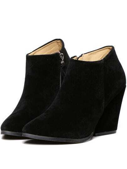 Black Chunky High Heel Point Toe Boots