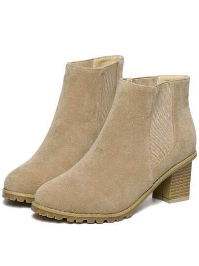 Apricot Chunky Heel Round Toe Casual Boots