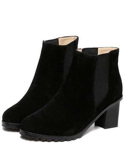 Black Chunky Heel Round Toe Casual Boots