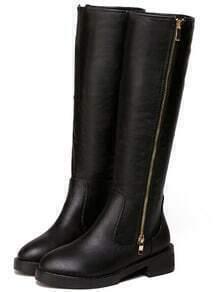 Black Zipper Chunky Heel PU Boots