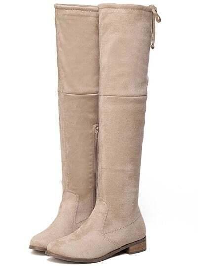Apricot Chunky Heel Zipper Boots