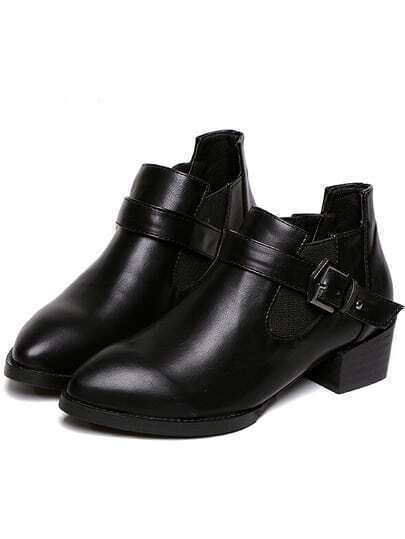 Black Buckle Strap Chunky Heel Boots