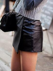 Black Wraped PU Shorts