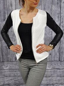 White Contrast PU Zipper Slim Coat