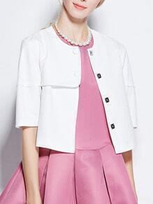 White Half Sleeve Crop Coat