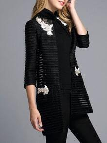 Black Round Neck Bead Pockets Hollow Coat