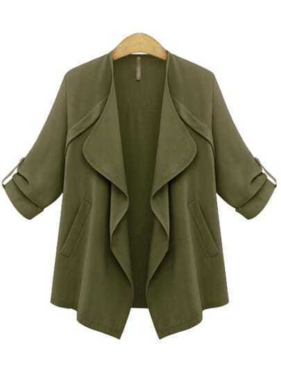 Army Green Long Sleeve Drape Front Coat