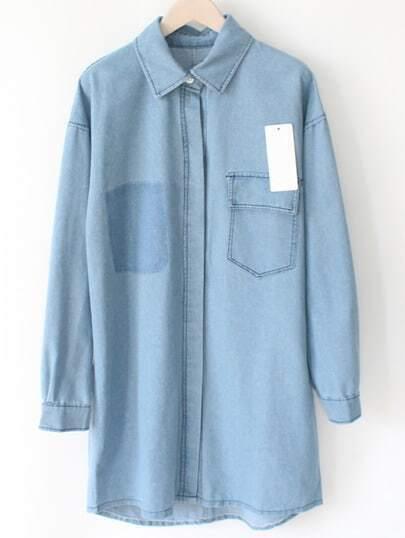 Blue Lapel Dip Hem Pocket Denim Coat