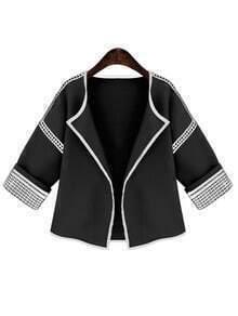 Black Lace Insert Crop Coat