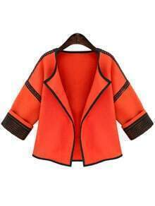 Orange Lace Insert Crop Coat