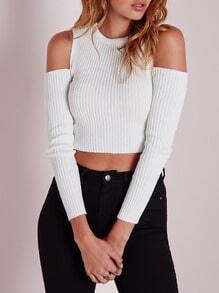 White Cold Shoulder Supersoft Slim Sweater