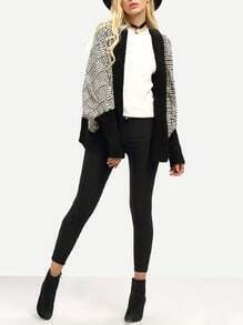 Black White Geometric Print Dolman Cardigan