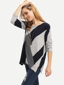 Blue Long Sleeve Striped Loose T-Shirt
