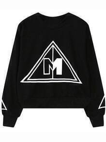 Black Round Neck Triangle Print Sweatshirt
