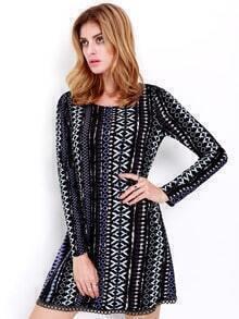 Black Long Sleeve Geometric Print Dress