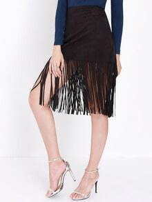Black High Waist Tassel Skirt