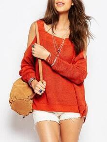 Orange Long Sleeve Off The Shoulder Sweater