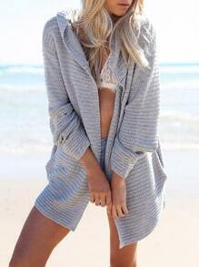 Grey Hooded Long Sleeve Loose Sweater
