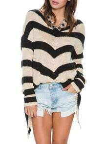 Black Beige Long Sleeve Striped Asymmetric Sweater