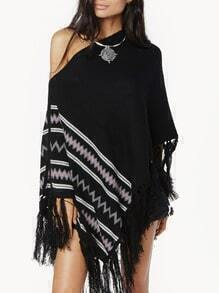 Black Batwing Geometric Print Tassel Cape Sweater