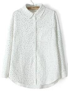 White Lapel Floral Pocket Loose Blouse