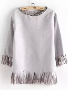 Grey Round Neck Tassel Loose Blouse