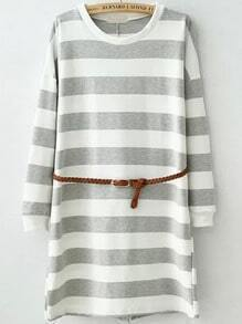 Grey White Round Neck Striped Straight Dress