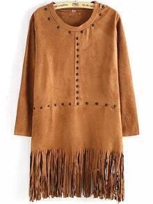 Khaki Round Neck Bead Tassel Dress