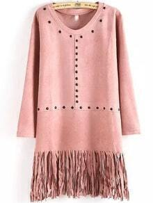 Pink Round Neck Bead Tassel Dress