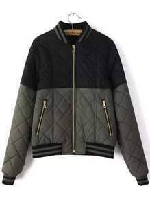 Black Grey Stand Collar Zipper Crop Coat