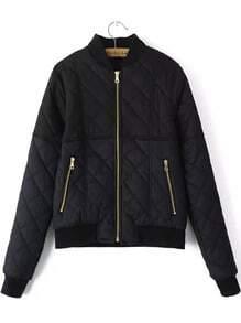 Black Stand Collar Zipper Crop Coat