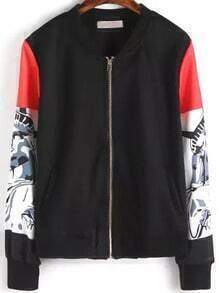 Black Floral Long Sleeve Zipper Crop Jacket