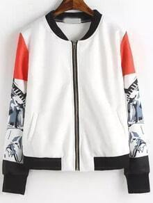 White Floral Long Sleeve Zipper Crop Jacket