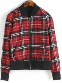 Red Black Stand Collar Plaid Crop Jacket