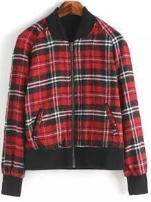 Red Black Stand Collar Plaid Crop Jacket
