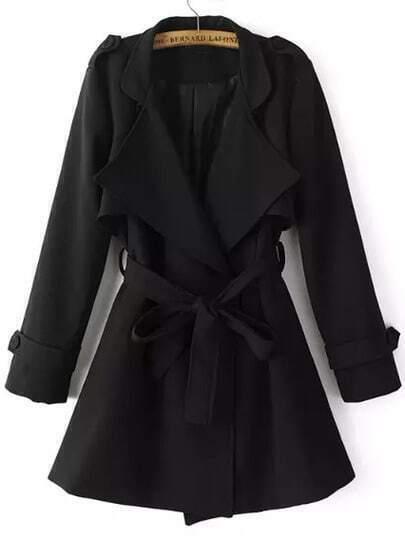 Black Lapel Epaulet Tie-waist Trench Coat