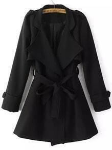 Black Lapel Epaulet Tie-waist Trench Coat