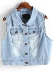 Blue Lapel Bleached Denim Crop Vest