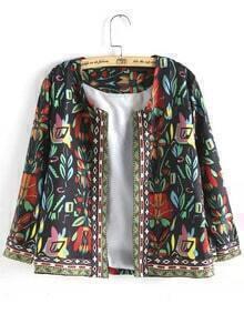 Multicolor Long Sleeve Floral Crop Coat