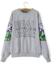 Grey Round Neck Sequined Letters Print Sweatshirt