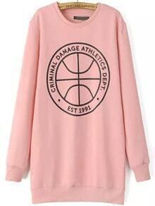 Pink Round Neck Letters Print Long Sweatshirt