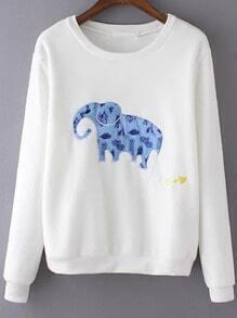 White Round Neck Elephant Elbow Patch Sweatshirt
