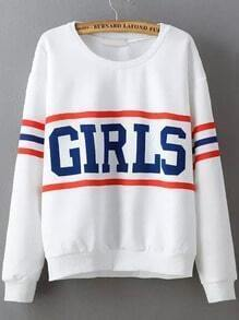 White Round Neck GIRLS Print Sweatshirt
