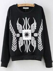 Black Round Neck Leaves Letters Print Sweatshirt